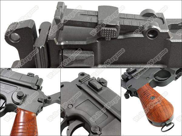 WE Broomhandle Mauser C96 M712 Gas Blow Back Airsoft Pistol - With