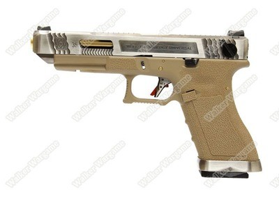 WE Special Custom Glock 35 Full Auto GBB Pistol Transformers Type (Silver Slide, Tan Frame, Gold Barrel)