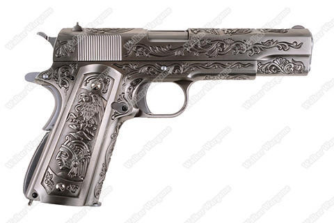 WE Colt 1911 Special Etched Version Full Metal Green Gas Pistol - Silver
