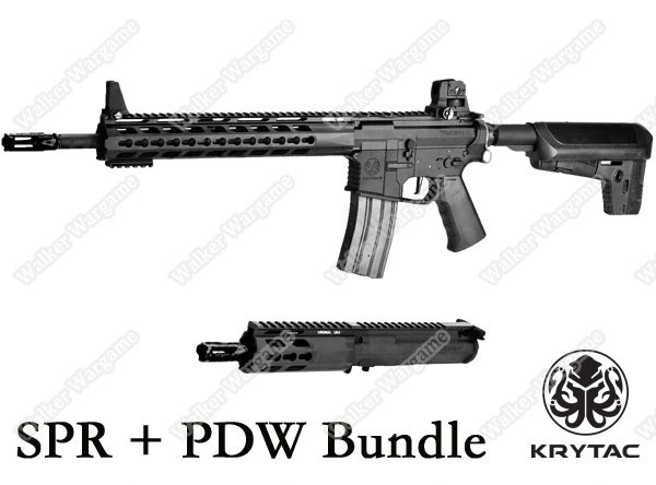 Krytac Full Metal Trident MKII SPR / PDW Bundle Airsoft AEG Rifle Package - Black