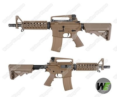 WE Full Metal CQBR M4 Open Bolt Green Gas Blow Back GBB Airsoft Rifle - Desert Tan