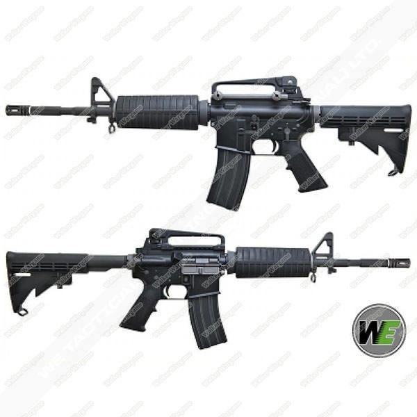 WE M4A1 Full Metal Green Gas Blow Back Rifle (Black, Open Chamber Version)