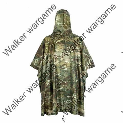Military Poncho Waterproof Hooded Raub Coat US British Army Ripstop - Multicamo