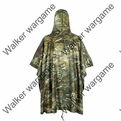 Military Poncho Waterproof Hooded Raub Coat US British Army Ripstop - Multicamo