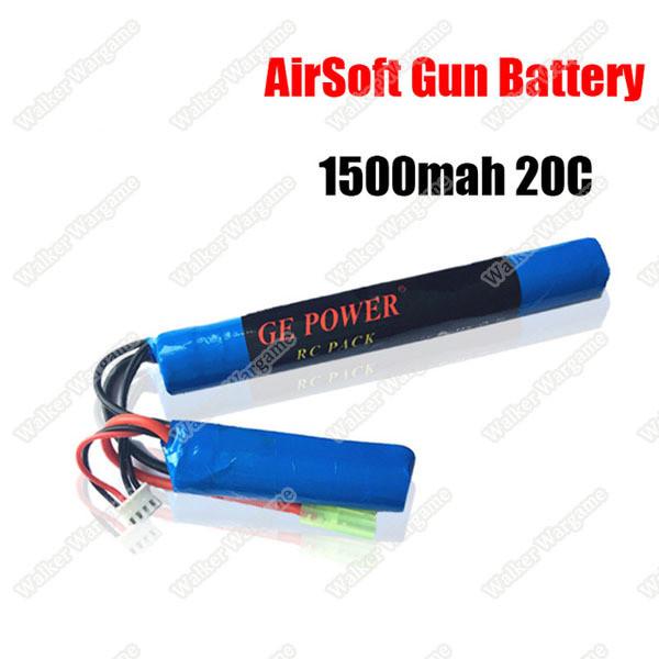 GE Power Lipo battery 11.1V 1500MAH 20C RC Airsoft Gun Battery 2P Type (Deans And Tamiya Connect)