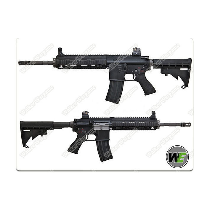 WE HK416 Green Gas Blow Back 4168 GBB Rifle - Black ( Open Chamber Version)