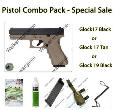 Pistol Combo Pack - WE GBB Glock with BB, Gas, Mag, Holster Sling Save R630.00