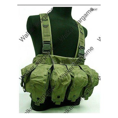 Russian Army, Chinese Army AK Magazine Chest Rig Carry Vest - OD Green