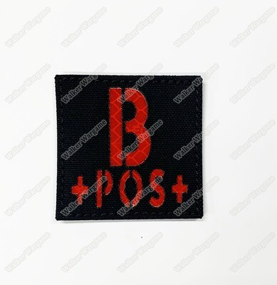 LWG010 B POS - Laser Cut Reflective Blood Type Patch With Velcro