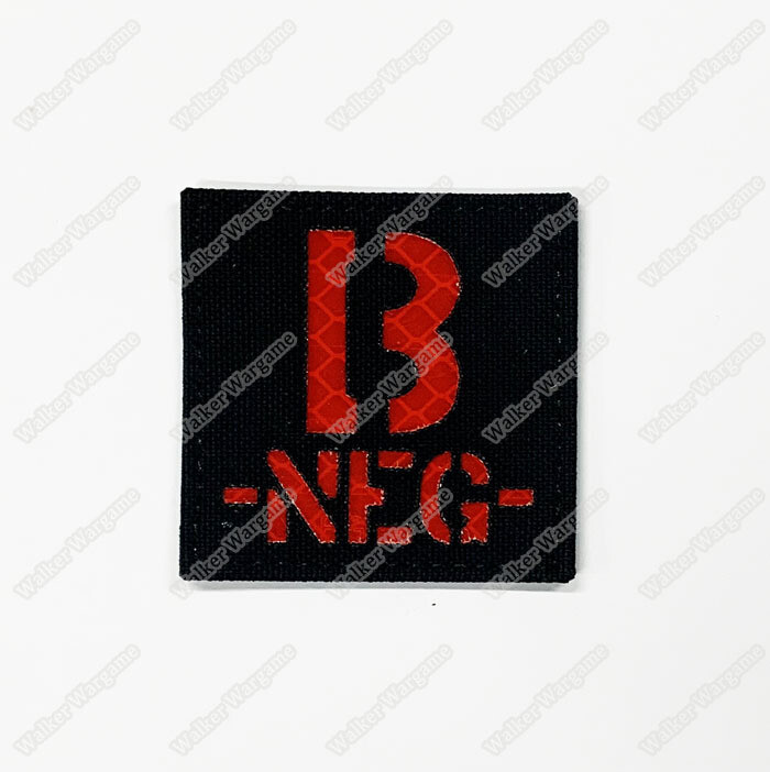 LWG014 B NEG - Laser Cut Reflective Blood Type Patch