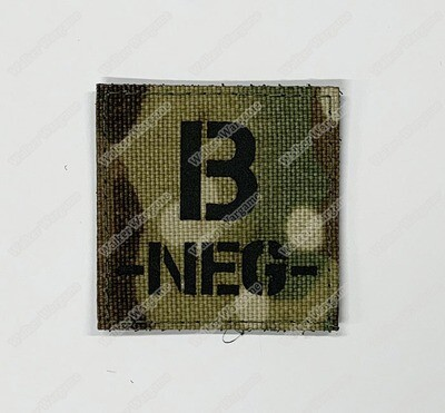 LWG022 B NEG Blood Type Multicam - Laser Cut Patch With Velcro