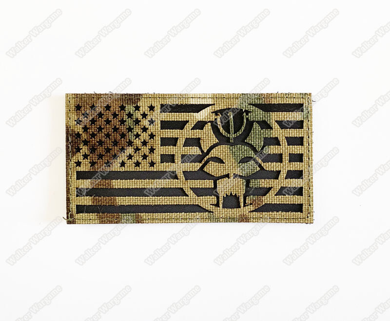 LWG023 US Flag With Navy SEAL Bravo Team Multicam - Laser Cuting Patch