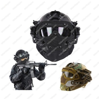 WST Airsoft Warrior System - Steel Wire Face Protective ,Fastjump Helemt - Desert Tan