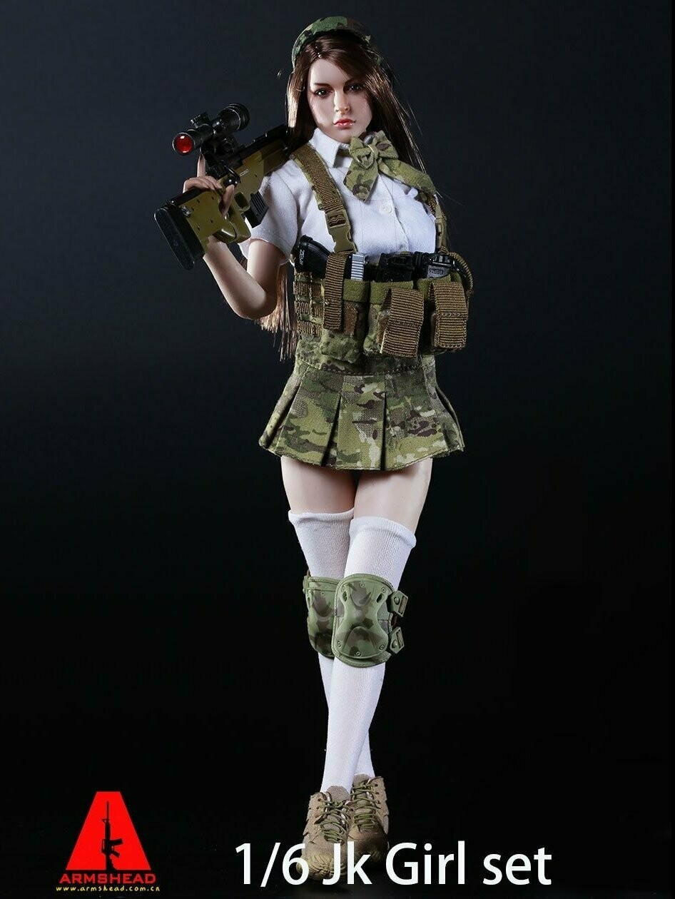 1:6 Action Figure ARMSHEAD JK Female Clothes Set Combat Multicam