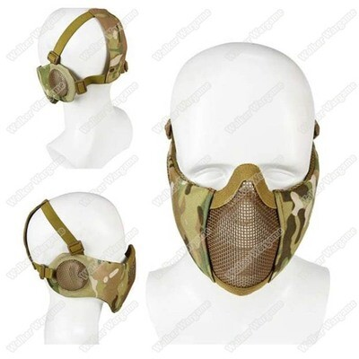 V1E Stalker Type Half Face Metal Mesh Mask With Integrated Mesh Ear Protection