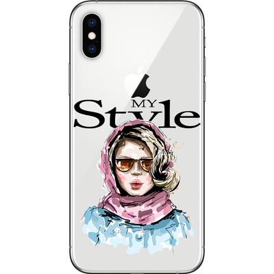 My Style maskica za iPhone X i XS-Woman with pink scarf