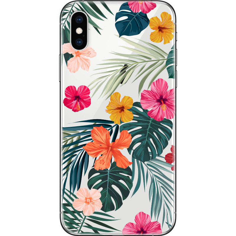 Hibiscus flowers and exotic palm