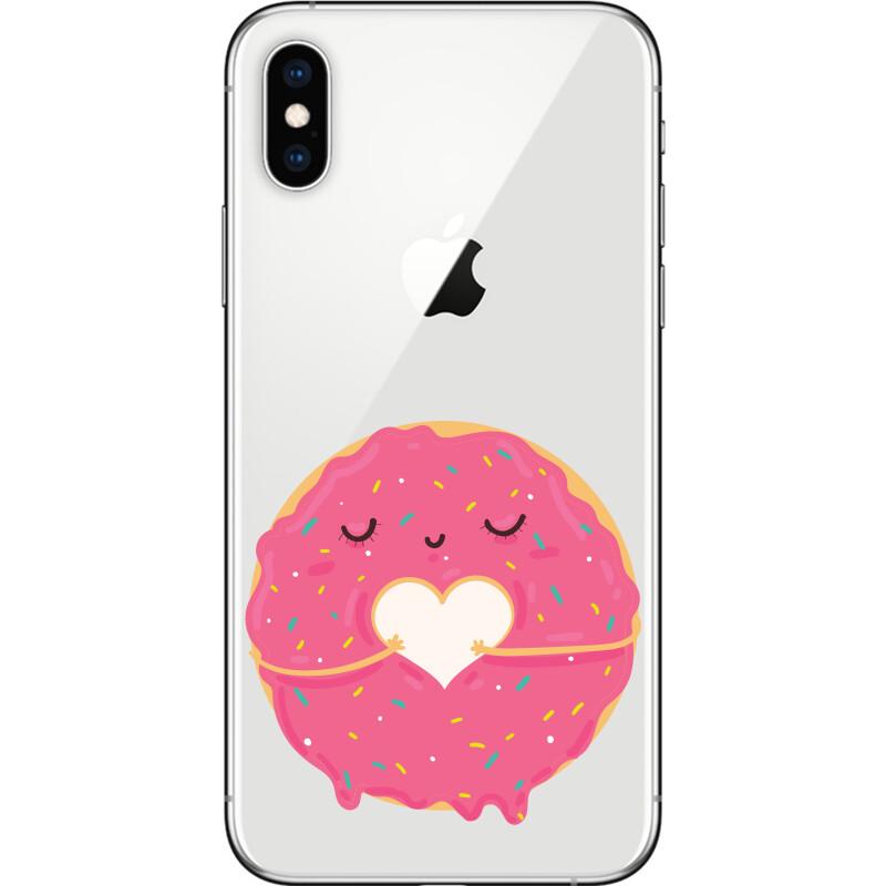 Cute pink cartoon donut