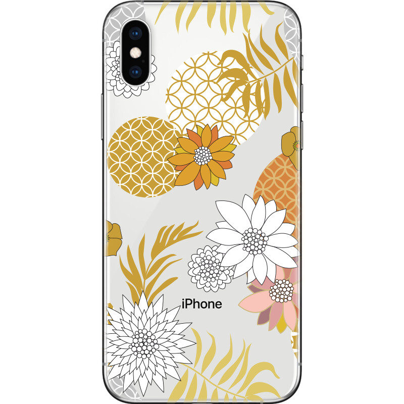 Golden and silver floral pattern with Japanese motifs