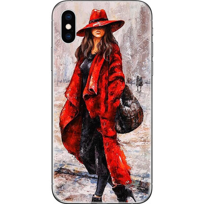 Girl in red coat and hat