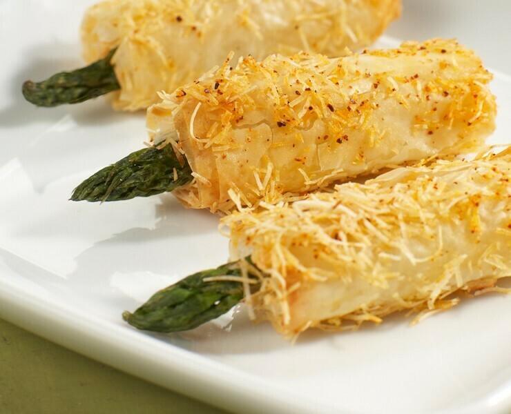 25 Asparagus and Asiago Phyllo Wraps