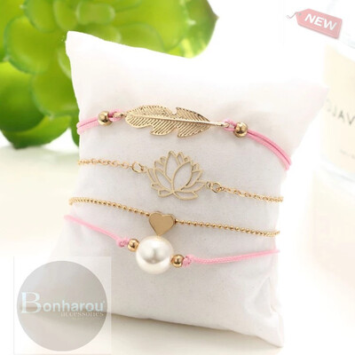 LOTUS FLOWER BRACELET SET 4 PZAS.
