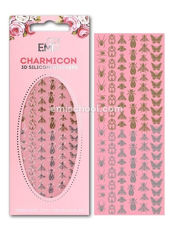 Charmicon 3D Silicone Stickers Insects #2 Gold/Silver
