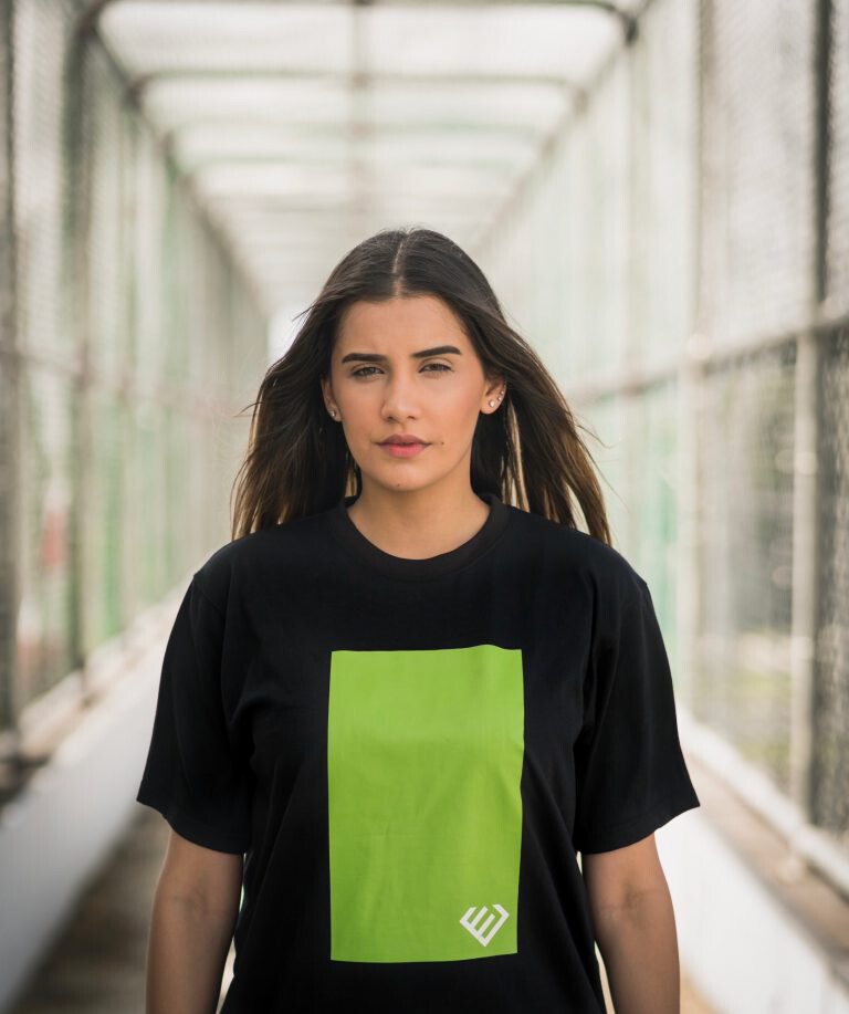 Euphoria - Black Square Logo (Green) Tee
