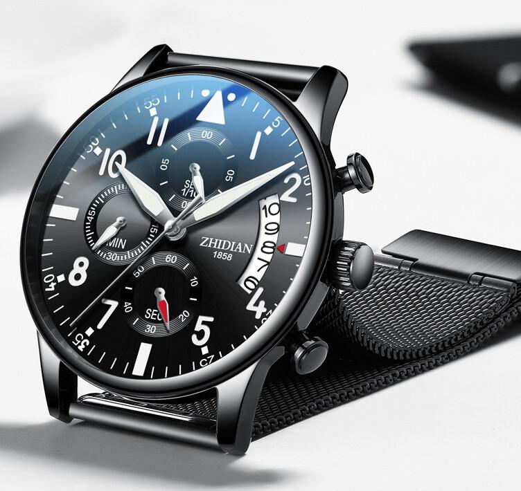 Zhidian Steel Watch All Black Fashion