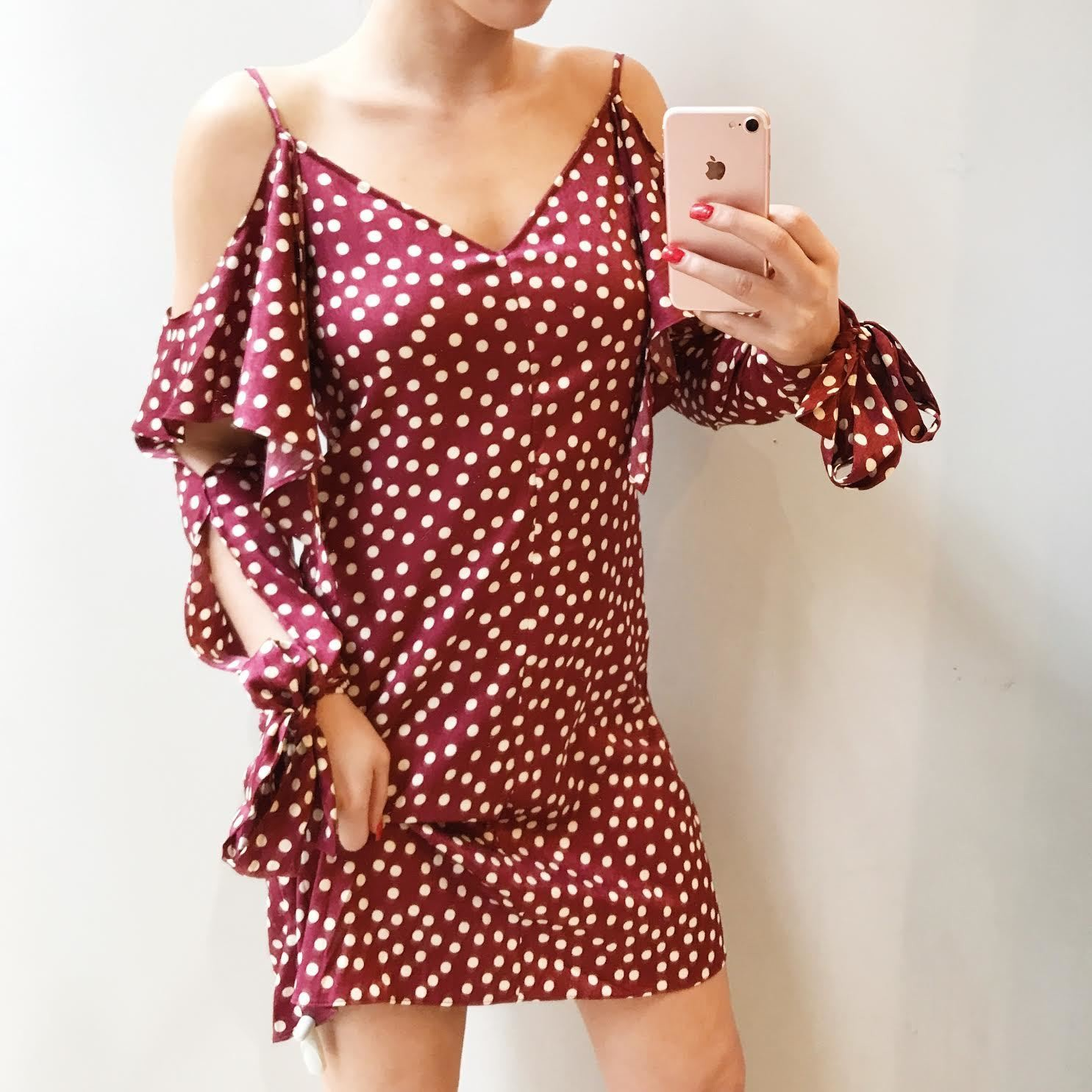 Laila Polka Dot Cold Shoulder Dress