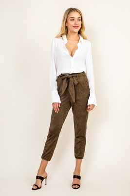 Nicole Faux Suede Belted Pants