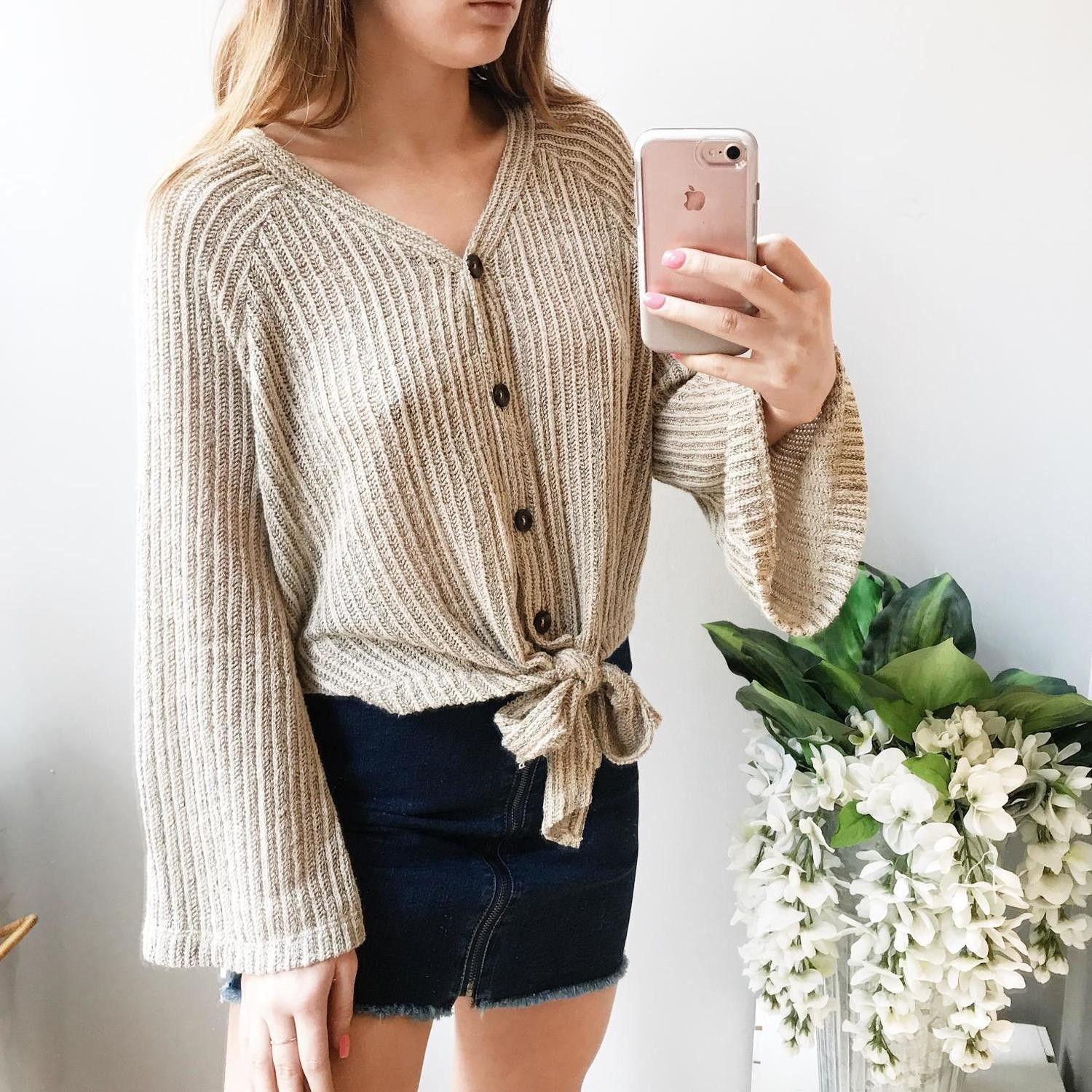 Ivy Front Tie Button Up Top