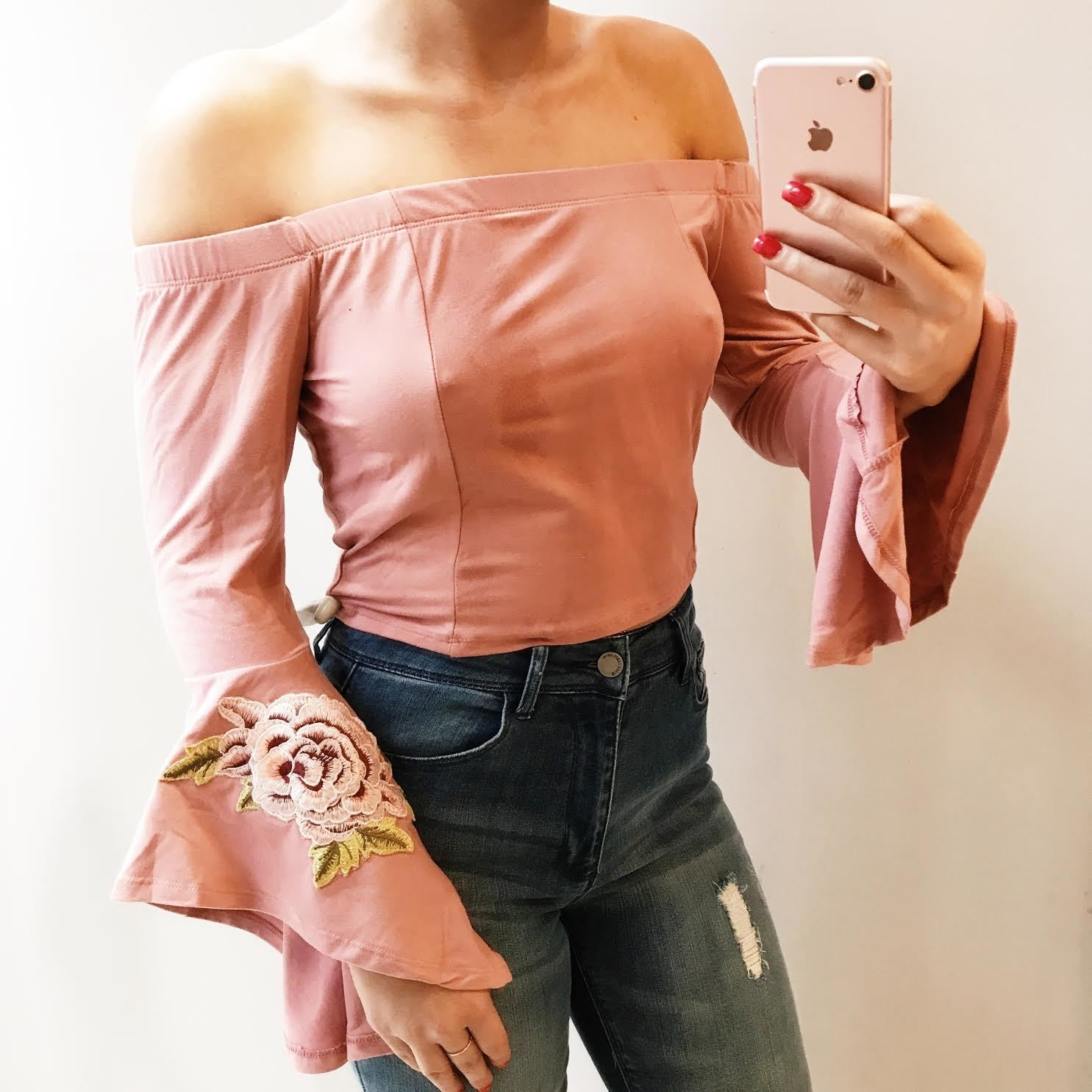 Ashley Bell Sleeve Embroidered Top