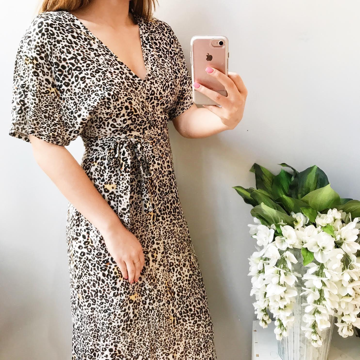 Olivia Leopard Print Wrap Midi Dress
