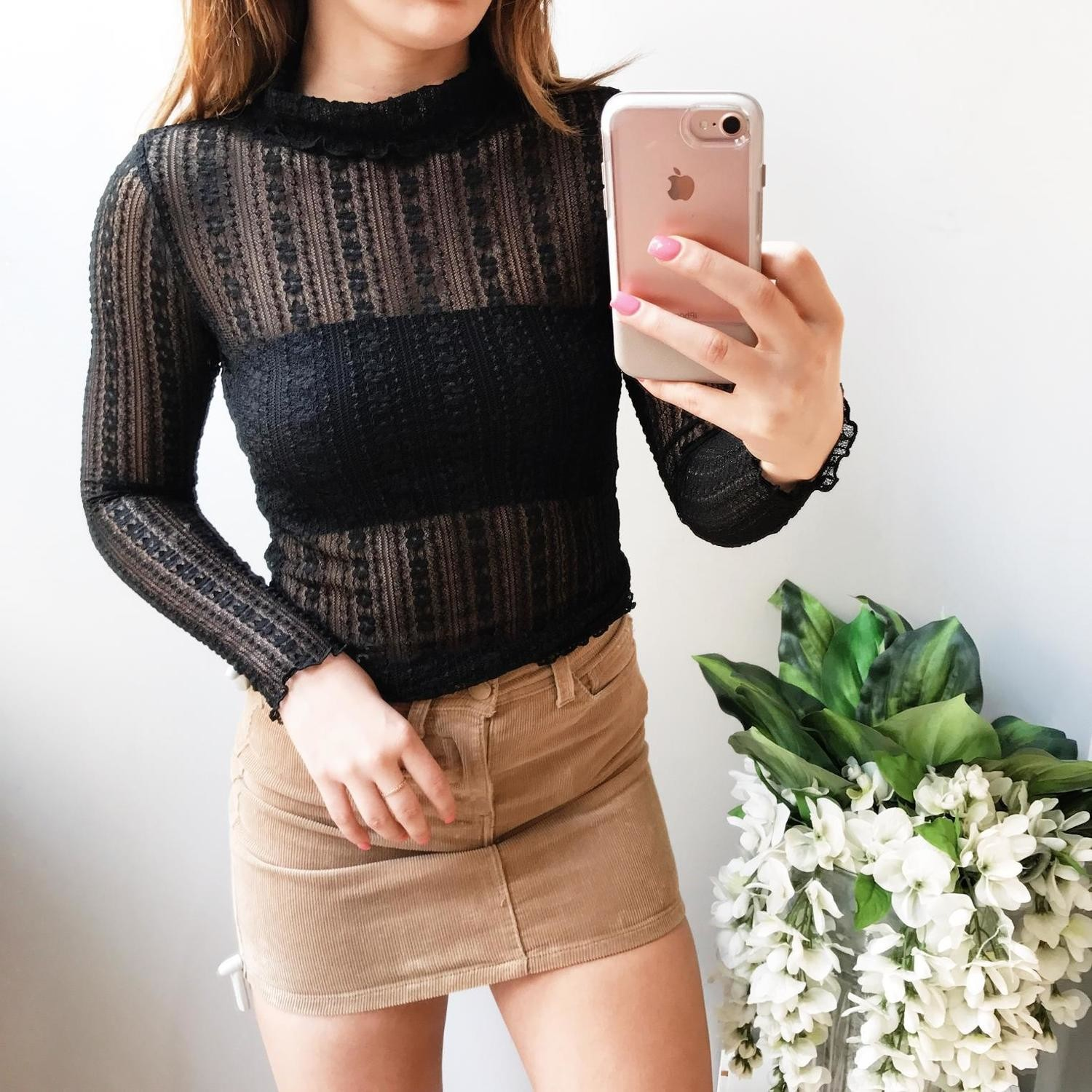 Megan Turtleneck Lace Knit Top