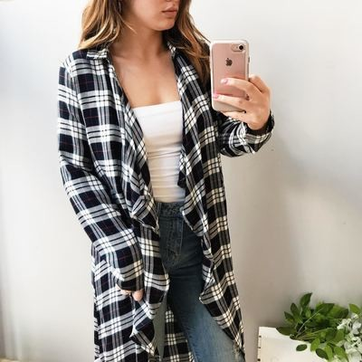Ashley Plaid Midi Cardigan