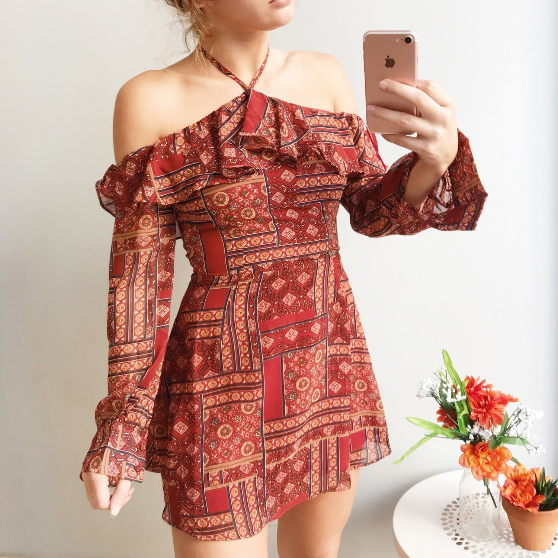 Mariana Halter Printed Mini Dress