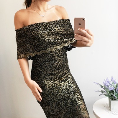 Janette Off Shoulder Lace Midi Dress