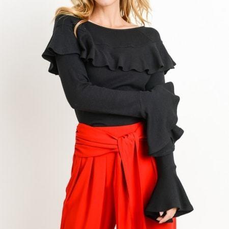 Esme Flattery Ruffle Knit Top
