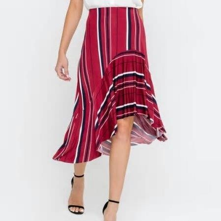 Keva Flowy Striped Midi Skirt
