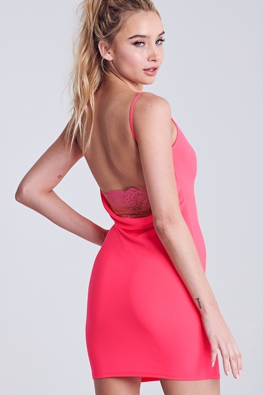 Kendall Low Lace Back Bodycon Dress