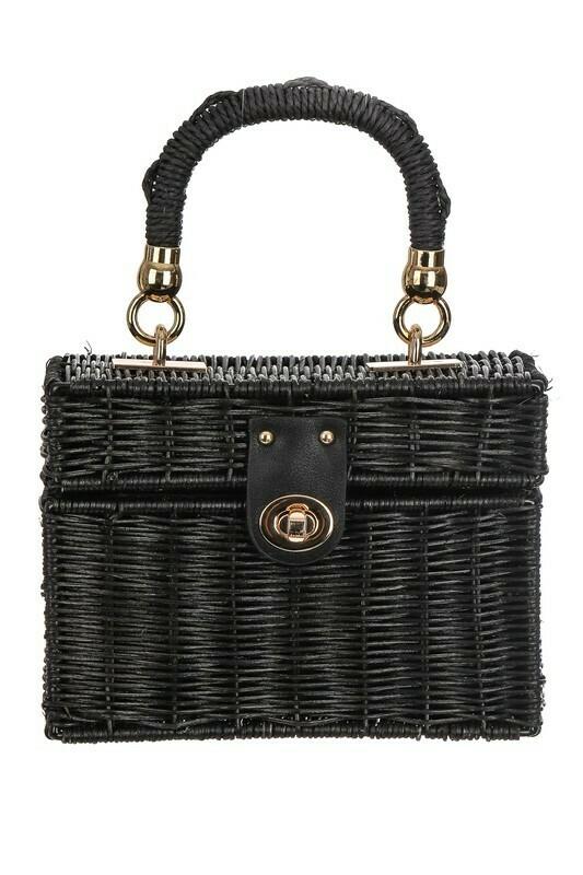 Basket Weave Box Top Handle Bag