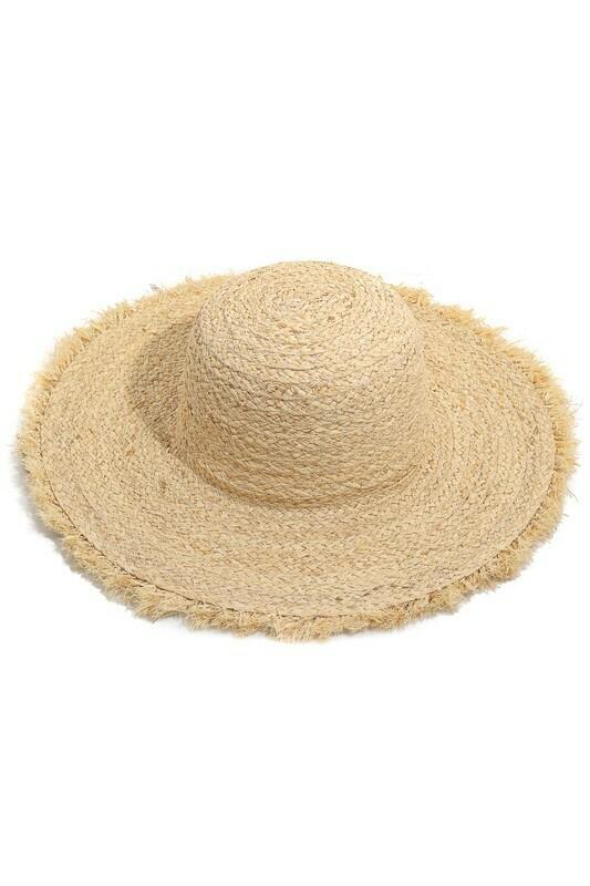 Fringe Brim Braided Straw Hat