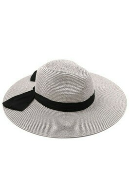 Chic Ribbon Wrapped Sun Hat