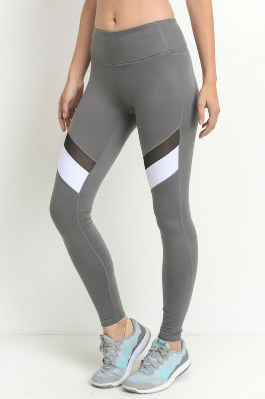Colorblock Mesh Full Leggings