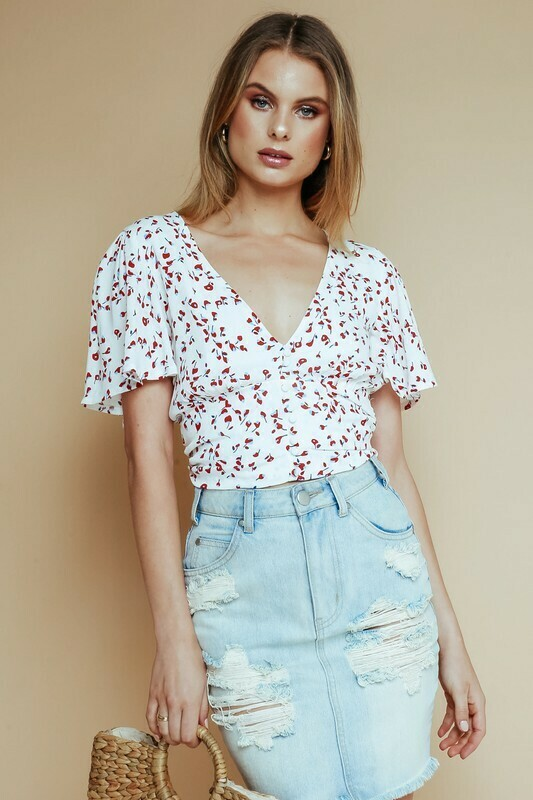 Cherry Floral Back Tie Top