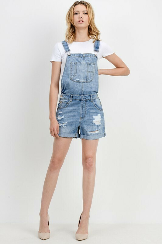 Medium Wash Overall Shorts