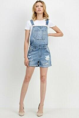 Medium Wash Overall Shorts