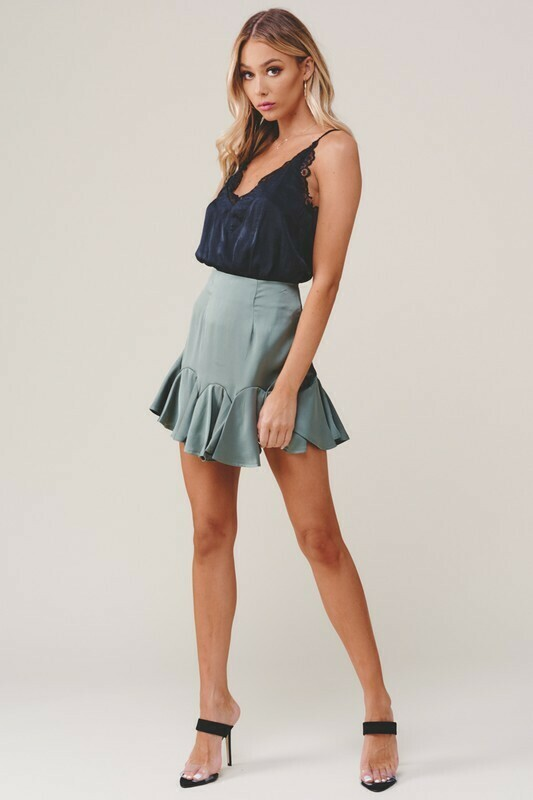 Satin Ruffled Mini Skirt
