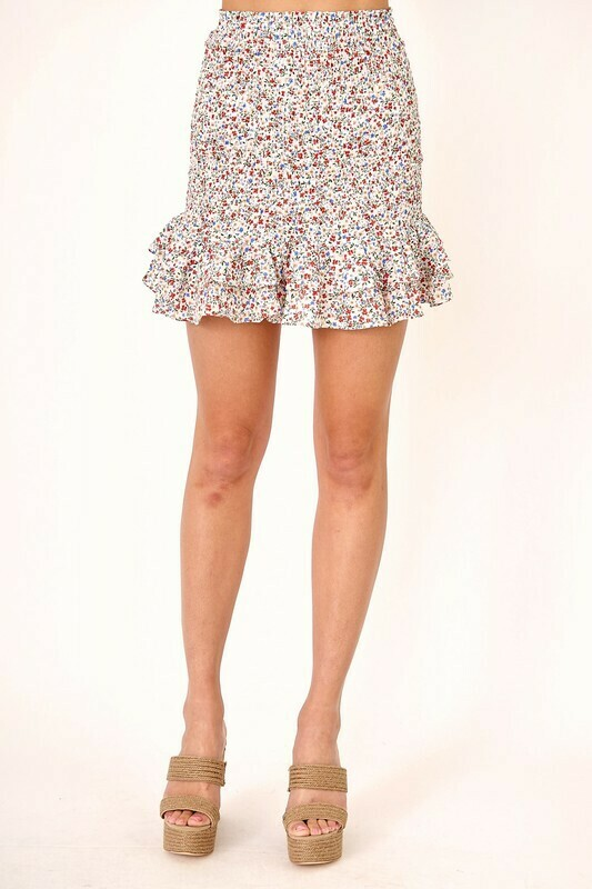 Floral Smocked Set Skirt